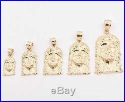 Men's Diamond Cut Jesus Head Charm Pendant Real Solid 10K Yellow Gold ALL SIZES