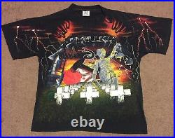 Metallica Rare 90's Vintage All Over Print 5 Albums T-shirt 1991 Wild Oats XL