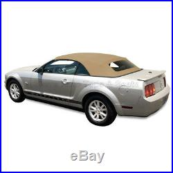 Mustang Convertible Top (05-14 All Models) Camel Sailcloth with Glass Window
