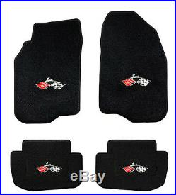 NEW! 1961-1964 Black Floor Mats Impala Crossed Flags Embroidered Logo set All 4
