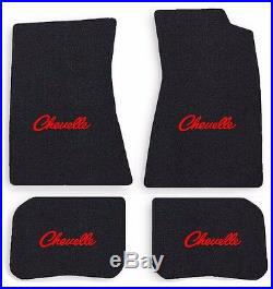 NEW! 1968-1972 CHEVELLE Floor Mats Black Carpet Embroidered Red Script Logo All