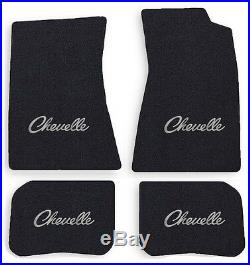 NEW! 1968-1972 CHEVELLE Floor Mats Black Carpet Embroidered Silver logo on all 4