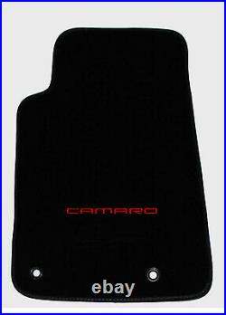 NEW BLACK Carpet Floor Mats 2010-2015 Camaro Embroidered Logo in Red on all 4 pc