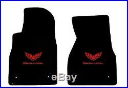 NEW! BLACK FLOOR MATS 1993-2002 FIREBIRD Trans Am Embroidered Logo RED on all 5