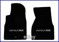NEW! BLACK Floor Mats 2006-2014 Chevy Impala Embroidered SS Logo in Silver All 4