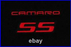 NEW BLACK Floor Mats 2010-2015 Camaro Embroidered Logo SS Red Double Logo All 4
