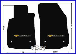 NEW BLACK Floor Mats 2014-2018 Chevy Impala Embroidered Bowtie Double Logo All 4