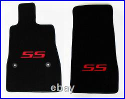 NEW! BLACK Floor Mats 2016-2021 Camaro Embroidered SS Logo in Red on All 4 Mats