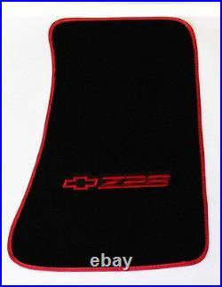 NEW! Carpet Floor Mats 1982-2002 Camaro Z28 Embroidered Logo / Red All 4 Binding