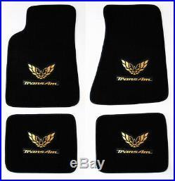 NEW! FLOOR MATS 1970-1981 PONTIAC FIREBIRD Embroidered Double Logo Gold All 4
