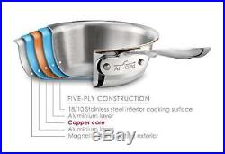 NIB All-Clad TK 5-Ply Copper Core 2-Quart Saucier with Whisk