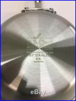 New All-Clad D5 Brushed Stainless Steel 5-Ply Bonded 8 and 10 Fry-Pan Set
