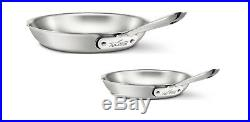 New All-Clad D5 Polished Stainless Steel 5-Ply Bonded 8 and 10 Fry-Pan Set