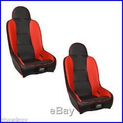PRP UTV Front Seats Pair (2) Black Red Polaris RZR 170 RZR170 All Years