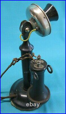 RARE Outside Terminal Receiver Antique Candlestick Telephone / all original