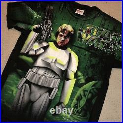 RARE Vintage 90s 1996 Star Wars Luke Skywalker All Over Print Green Stormtrooper