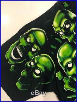 RARE Vintage Green Skulls 2001 Juicy J Liquid Blue ALL OVER PRINT Shirt Mens 2XL