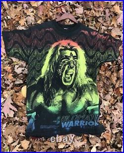 Rare Vintage OG 1996 WWF Ultimate Warrior ALL OVER PRINT Shirt wrestling Ecw nWo