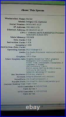 SGI Silicon Graphics Indigo 2 R4000 160Mb Elan Graphics + Monitor etc. All in