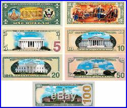 Set of all 7 COLORIZED 2-SIDED U. S. Bills Currency $1/$2/$5/$10/$20/$50/$100