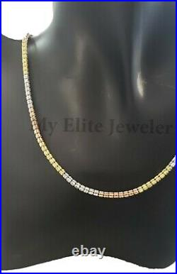 Solid 10K Gold Tennis Chain Necklace Yellow White Rose Tri Color 100% ALL GOLD