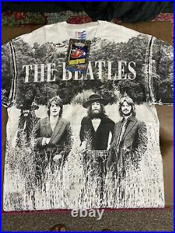 The Beatles Vintage 90s AOP All Over Print Band T-shirt Winterland NWT