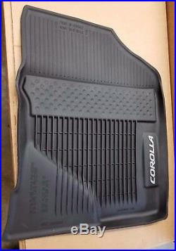 Toyota Corolla 2014-2019 Black All Weather Rubber Floor Liner Mats Set