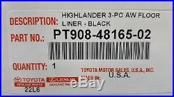 Toyota Highlander 2014 2019 All Weather Floor Liners Genuine OEM Set of 3
