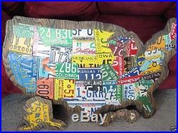 USA LICENSE PLATE MAP- METAL WALL ART- ALL 50 STATES- (Pub Bar Art)