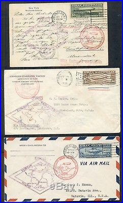 US 1930 #C13-15, Complete Zeppelin set on card + 2 covers withall proper markings