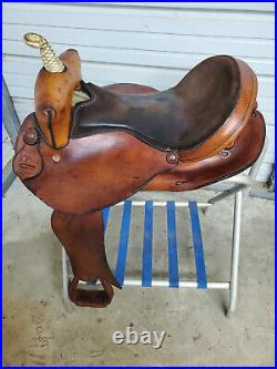 Used 16 Circle D Brown Leather Barrel saddle with all smooth leather