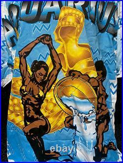 VINTAGE 95 AQUARIUS ZODIAC ALL OVER PRINT TEE AFRICAN AMERICAN RARE! Sz Xl