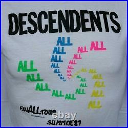 VTG 1987 Descendants All Tour T Shirt 80s Tee Black Flag Punk Rock NOFX Large