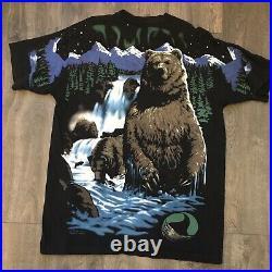 VTG 1995 Liquid Blue Grizzly Bear Nature Animal All Over Print XXL Rare Vintage