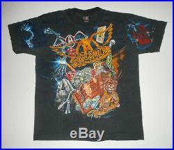 VTG 90s AEROSMITH Band T-Shirt 1993 ALL OVER PRINT Get A Grip GIANT Tags USA XL