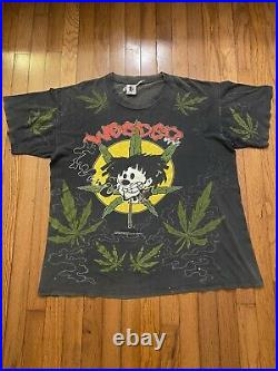 VTG 90s GEM Nervous Records NYC Weeded Weed Rap Hip Hop All Over T-shirt Mens XL