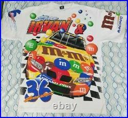 VTG 90s Nascar Ernie Irvan M&M All Over Print T Shirt White Pit Crew Candy XL
