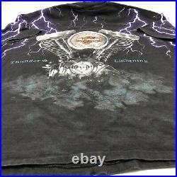 Vintage 1990s Harley Davidson T Shirt Thunder Lightning 2XL All Over Engine AOP