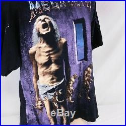 Vintage 1992 Megadeth T Shirt All Over Print Tee Countdown To Extinction Tour XL
