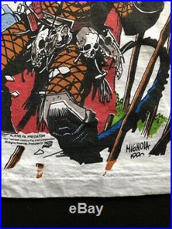 Vintage 1993 ALIENS vs PREDATOR all over print t-shirt Tank horror movie 90s XL