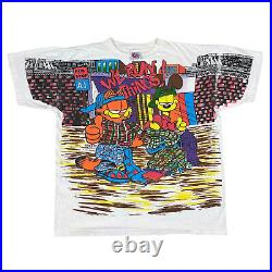 Vintage 1994 Garfield We Run Things All Over Print T-Shirt Freeze 90s Size XL