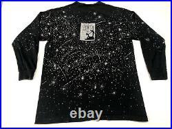 Vintage 80s 90s Disney Fantasia T Shirt Long Sleeve All Over Print Mickey Rare