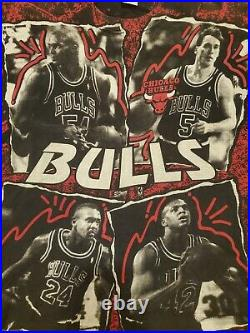 Vintage 90's Chicago Bulls All Over Print T Shirt XXL Horace Grant Salem NBA