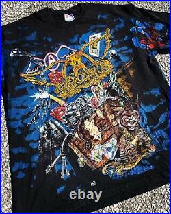 Vintage 90s Aerosmith Toys In The Attic All Over Print Concert T-Shirt Rare