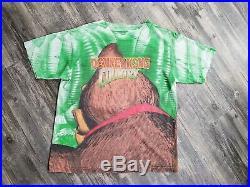 Vintage 90s DONKEY KONG Super Nintendo SNES All Over Mega Print T Shirt OSFA XL