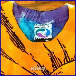 Vintage 90s LIQUID BLUE Sun & Moon Shirt 1992 All Over Print Large RARE