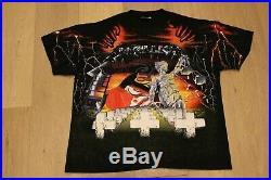 Vintage 90s Metallica All Over Print Tee Size XL Black T-shirt 1991 Slayer Metal