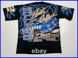 Vintage 90s NASCAR #2 Rusty Wallace Rolling Thunder All Over Print T Shirt L USA