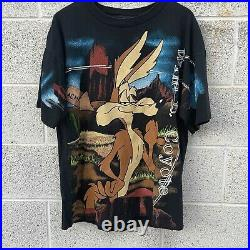 Vintage 90s Wile E Coyote Looney Tunes All Over Print Shirt XL Wild Oats