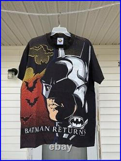 Vintage Batman Returns All Over Print Movie Promo T Shirt Size L Tim Burton USA